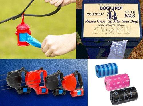 recogedores y bolsas de excrementos de perro